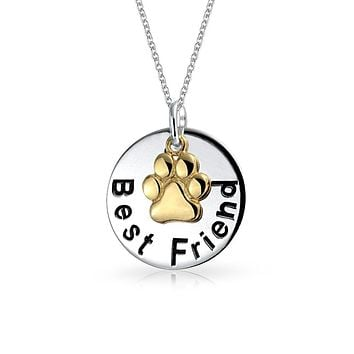 Round BFF Best Friend Cat Dog Pet Paw Print Charm Pendant Necklace