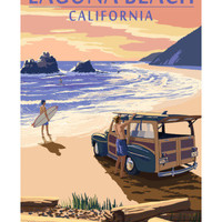 Laguna Beach, California - Woody on Beach Art by Lantern Press at AllPosters.com