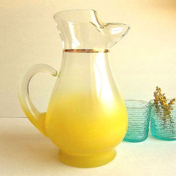 Vintage LARGE Yellow Ombre West Virginia Blendo Glass Pitcher w/ ice lip, gold trim, bar ware, iced tea pitcher, water jug 1960's EXCELLENT