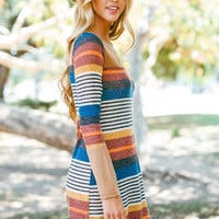 Sophisticated Stripes Dress - Taupe