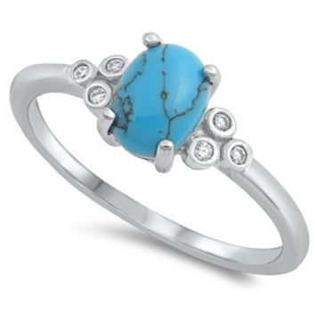 .925 Sterling Silver Turquoise Oval Cut CZ Ladies Ring Size 4-10 Solitaire