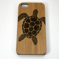 Sea Turtle iPhone 6 Case. Tribal Tattoo Ocean Sea Hawaiian Honu. Eco-Friendly Bamboo Wood Cell Phone Cover Skin. Fee U.S. Shipping
