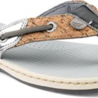 Sperry Top-Sider Seafish Cork Thong Sandal Silver/Charcoal, Size 5.5M  Women's Shoes
