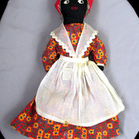 Early Century Black Americana Cloth Doll Oilcloth Shoes And Earrings Gift Item 2365