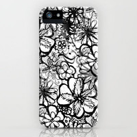Classic Black and White Doodle flowers iPhone Case by RokinRonda | Society6