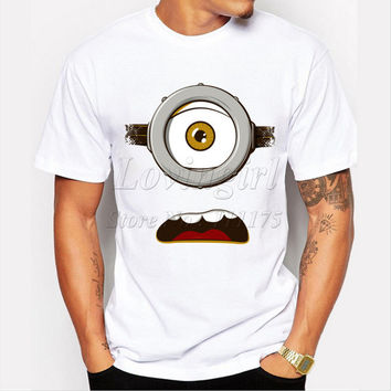 Latest 2017 men's fashion funny design simple one eye minion printed t-shirt cute tee shirts Hipster O-neck popular tops