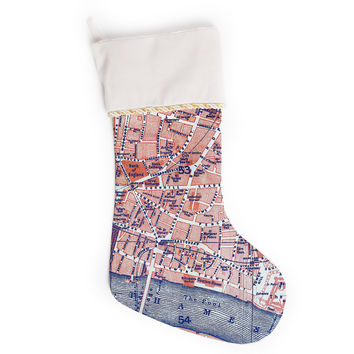 "Alison Coxon ""City Of London"" Map Christmas Stocking"