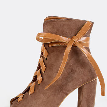 Peep Toe Leather Lace Up Boots TAUPE | MakeMeChic.COM