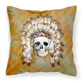 Day of the Dead Indian Skull Fabric Decorative Pillow BB5121PW1818