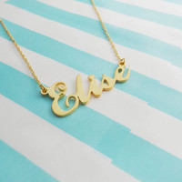 Personalized Name Necklace Gold,Dainty Name Necklace,Custom Name Necklace,Custom Celebrity Necklace, Any Name Pendant,Elise Name Necklace