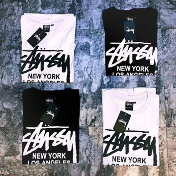 Stussy X Supreme Stylish Women Men Casual Short Sleeve Round Collar T-Shirt Top Blouse I
