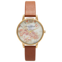 Buy Olivia Burton Women's Wonderland Flower Motif Leather Strap Watch online at John Lewis