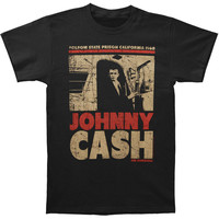 Johnny Cash Men's  Off The Bus Vintage T-shirt Black Rockabilia