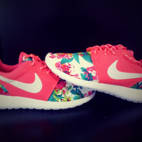 custom nike roshe run sneakers athletic sport shoes coral color with fabric floral,crystal swarovski or both