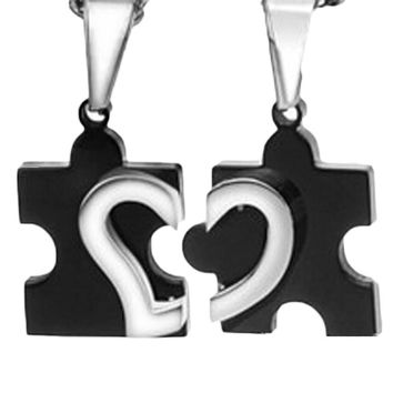 Stainless Steel Love Combining puzzle Necklaces heart Pendant for Couple Lovers Long Colar