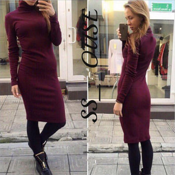 Basic Long Sleeve High Neck Midi Dress