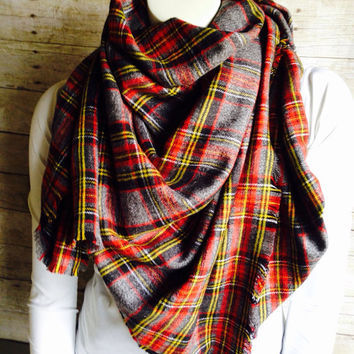 Plaid Blanket Scarf, Red and Grey Soft Cotton Flannel Wrap, Fringed Oversized Scarf, Tartan Wrap
