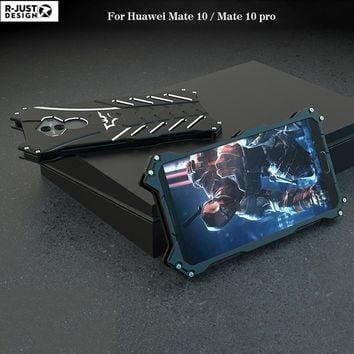 Batman Dark Knight gift Christmas R-JUST For Huawei Mate 10 Pro Metal Case Luxury 3D Batman Hard Aluminum bumper Frame Armor Full Protective Back Phone Case Cover AT_71_6