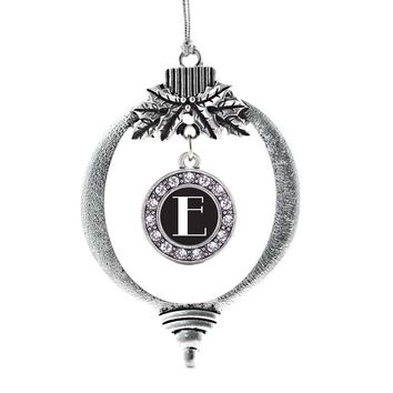 My Vintage Initials - Letter E Circle Charm Holiday Ornament