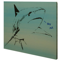 Wildlife Painting Savannah River BULL SHARK 16x20 Graffiti Street Art Pop Art Inspired Original Painting on Canvas Regional Humor Aquatic