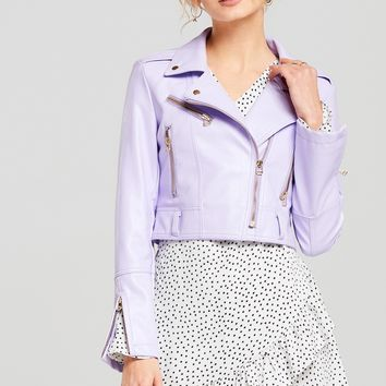 Evie Lavender Neon Moto Jacket Discover the latest fashion trends online at storets.com