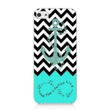 S9Q Anchor Chevron Retro Vintage Tribal Nebula Pattern Hard Case Cover Back Skin Protector For Apple iPhone 5C Style C Blue (te76)