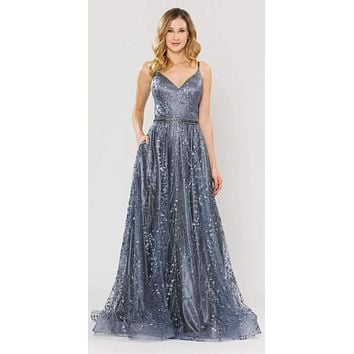 Lace-Up Back Glittery A-Line Long Prom Dress Gun Metal