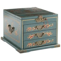Teal Jewelry Box with Mirror