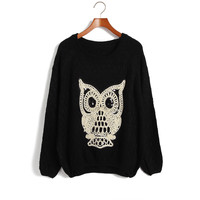 Cute Own Embroidery Bat Sleeves Loose Sweater