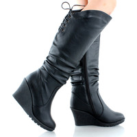 Pure-40 Slouchy Knee High Moto Boots