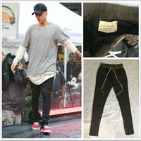 Men's Kanye West Yeezus Hip Hop Side Zippers Casual Fear Of God Jogger Elastic Stretch Jeans