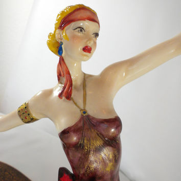 Amiloare Santini Art Deco Lady, Made in Italy, Signed Collectors Figurine, Dancing Lady, Dancing Figurine, Italian Statue