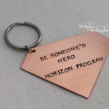 Superman Keychain Personalized - Diamond Keychain - Hand Stamped Keychain - Copper Keychain - Diamond Shaped Keychain - Custom Keychain