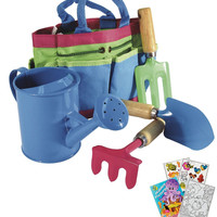 House of Marbles Children's Garden Tool Set with Canvas Carry Bag and Kids Coloring Book