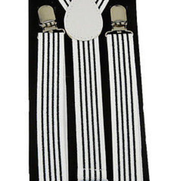 Goth Unisex Men's Women's White Thin Black Stripes Design Adjustable Suspenders