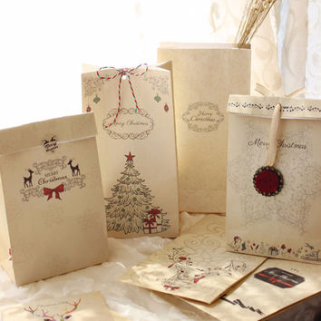 6pcs/set Kraft Paper Bag Merry Christmas Gift Bags Party Favor Bowknot Packaging