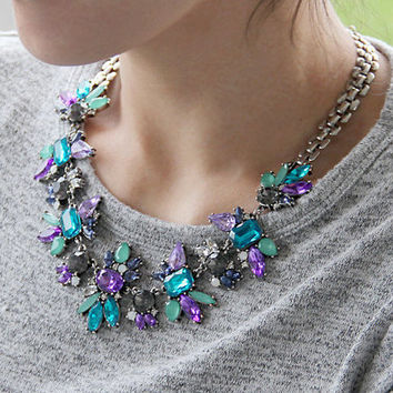 Antique Brozne Silver Purple Blue Clear Crystal Statement Necklace,Wedding Necklaces,Chokers Necklaces,Elegant Bridal Crystal Necklaces