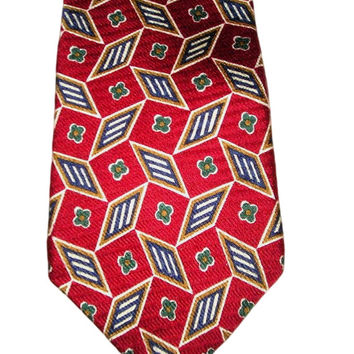 80s GIVENCHY Monsieur France Red Textured Silk 3D Rombs and Floral Necktie - Romantic Gift for Him