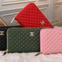 chanel 2017 Noble fashion twill zipper leather Wallet [99386490895]