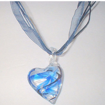 STORE WIDE SALE Murano Lampwork Blue and Black Swirl Glass Heart Pendant Ribbon Strand Necklace