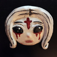 "Creepy Albino Girl Brooch ""Lilith"""