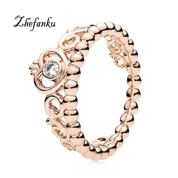 Cool 1pc 2017 Fashion size 5-10 Princess Queen Crown Engagement Ring with Clear CZ Authentic Rose Gold colorAT_93_12