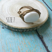 Milk Glass Wire Ring / Wire Wrap Ring / Wire Work Ring / Upcycled Jewelry / Cocktail Ring / Southern Belle Ring / Wire Wrapped Beads