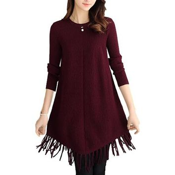 [13880] Women Beaded Pullover Fringe Crew Neck Loose Medium Length Knit Sweater