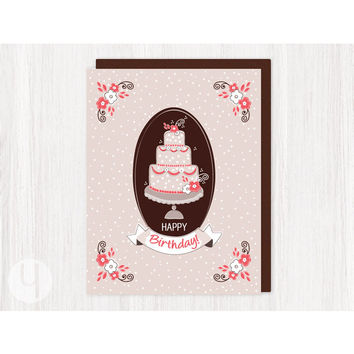 Birthday Coral Cake Greeting Card