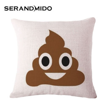 Funny Cartoon Poop Emoji Home Cushions Cotton Linen 45*45cm Square Decorative Pillows Funda Cojin for Sofa SMC1067T