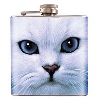 Liquor Hip Flask Stainless Steel White Cat 6 oz  (F-100)
