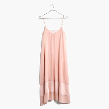 Silk Sheer-Stripe Cami Dress in Coral Sand