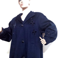 Full Length Ladies Coat Blue Alorna Swing Coat Ladies Large Vintage Wool Coat Navy Blue Winter Coat