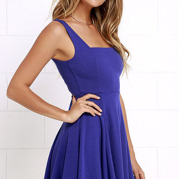 Let's Get Together Royal Blue Skater Dress